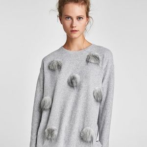 Zara pullover Sweater with Textured Poms